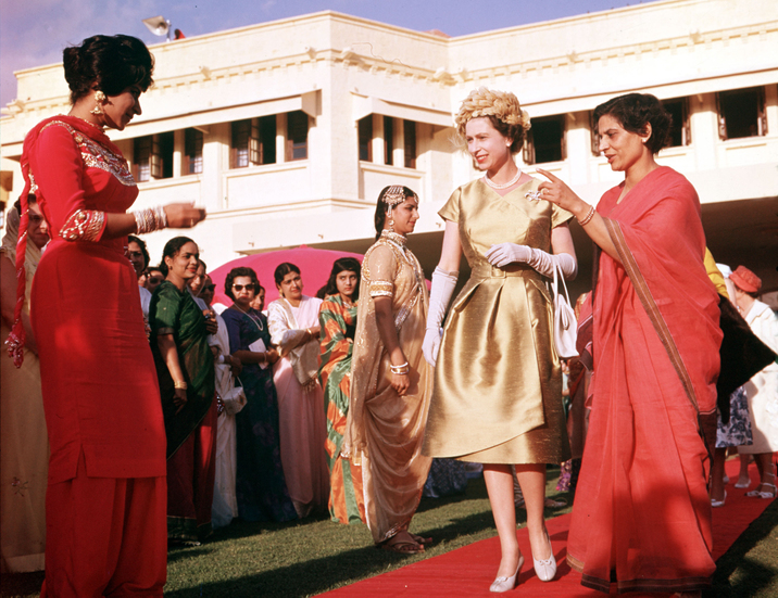 1961, Royal Tour to Pakistan, Queen Elizabeth II is pictured at a costume parade in Karachi (Photo by Popperfoto/Getty Images)