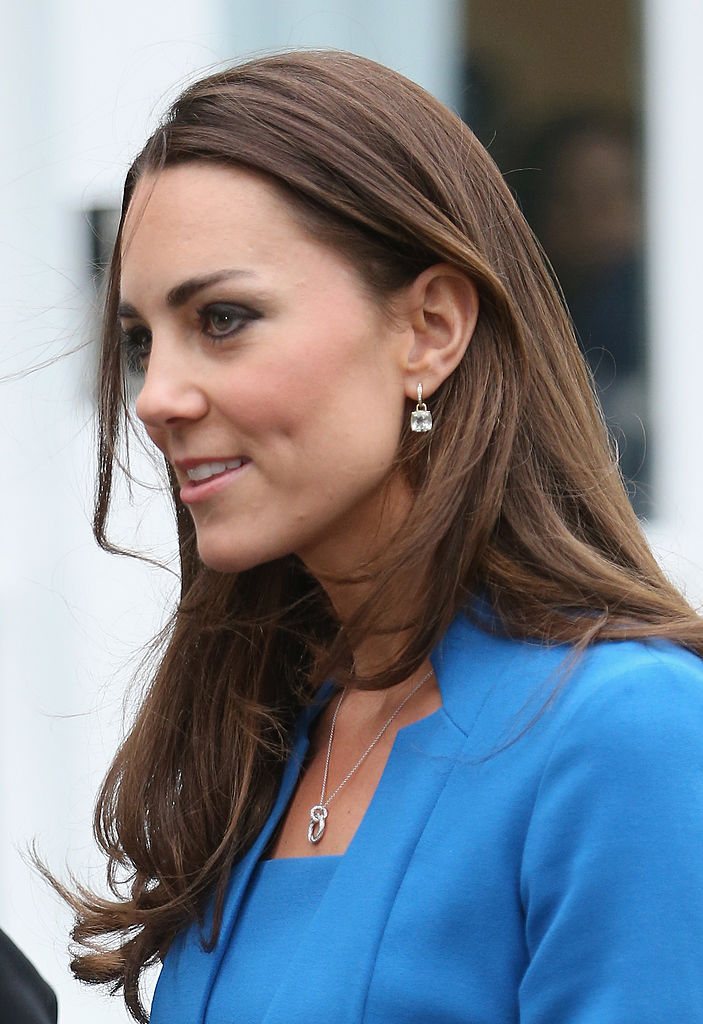 EALING, ENGLAND - FEBRUARY 14:  Catherine, Duchess of Cambridge arrives for the opening of the ICAP Art Room at Northolt High School on February 14, 2014 in Ealing, England.  (Photo by Chris Jackson/Getty Images)