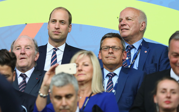 SAINT-ETIENNE, FRANCE - JUNE 20:  Prince William, Duke of Cambridge and the FA chairman Greg Dyke are seen in the stand prior to the UEFA EURO 2016 Group B match between Slovakia and England at Stade Geoffroy-Guichard on June 20, 2016 in Saint-Etienne, France.  (Photo by Julian Finney/Getty Images)