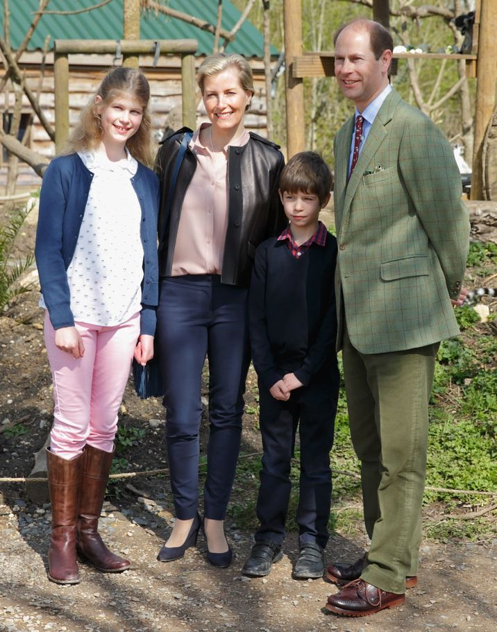 BRISTOL, UNITED KINGDOM - APRIL 14: (EMBARGOED FOR PUBLICATION IN UK NEWSPAPERS UNTIL 48 HOURS AFTER CREATE DATE AND TIME) Lady Louise Windsor, Sophie, Countess of Wessex, James, Viscount Severn and Prince Edward, Earl of Wessex visit the Wild Place Project at Bristol Zoo on April 14, 2016 in Bristol, England. (Photo by Max Mumby/Indigo/Getty Images)