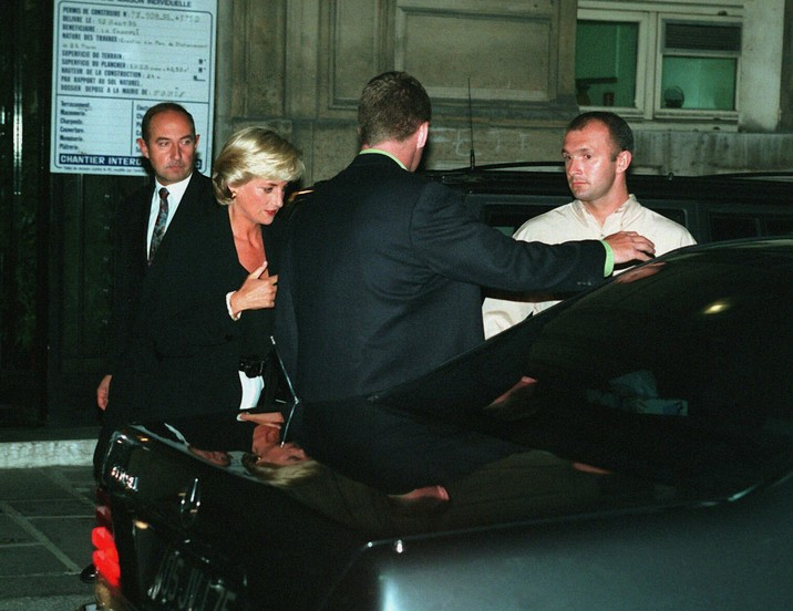 "The last day of Princess Diana was spent in Paris on the 31st of August, 1997, with her boyfriend Dodi al-Fayed, son of Egyptian billionaire Mohamed Al-Fayed. Pictured:  Diana  leaves their apartment on Arsene Houssaye Street with their bodyguards, Alexander ""Kes"" Wingfield and Trevor Rees-Jones to go to the Ritz Hotel in Paris Ref:    KCS 310897 M Splash News and Pictures Los Angeles:310-821-2666 New York:212-619-2666 London:207-107-2666 photodesk@splashnews.com www.splashnews.com"