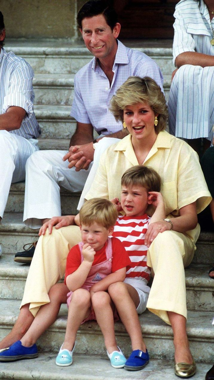 The Prince and Princess of Wales on holiday with their children, Princes William and Harry, at the Spanish royal residence Marivent Palace, August 1987. (Photo by Terry Fincher/Getty Images)