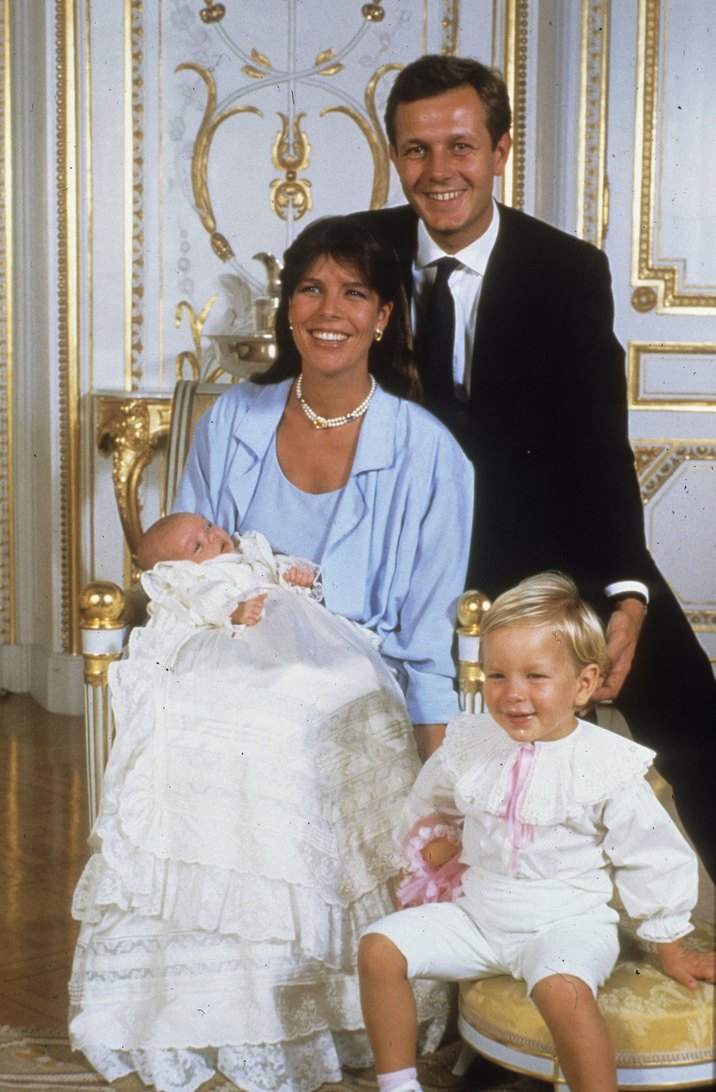 PARIS, FRANCE - UNDATED: (FILE PHOTO)  Princess Caroline of Monaco, a member of the Grimaldi family, poses with her second husband, Stefano Casiraghi, and their children in 1986 in Paris, France. Princess Caroline married Ernst August V, Prince of Hanover in 1999 and is also titled as Caroline, Princess of Hanover. She will be celebrating her 50th birthday on January 23rd. (Photo by Michel Dufour-Pool/WireImage)
