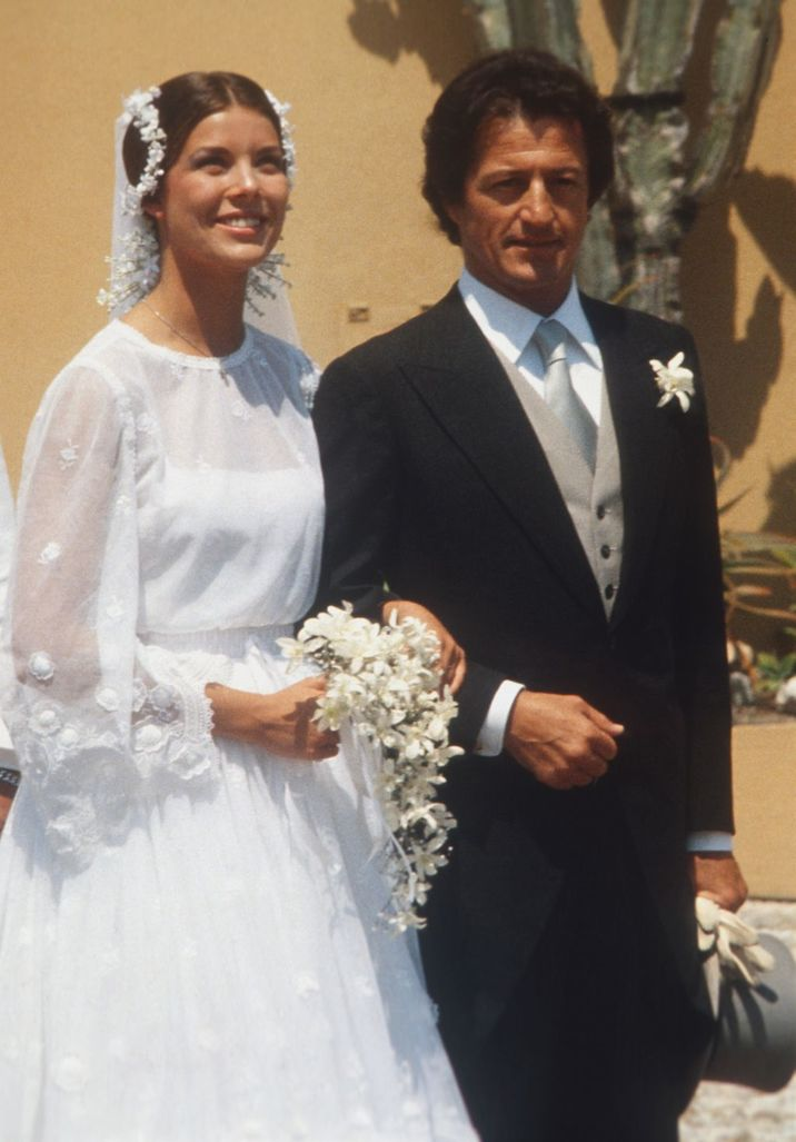 Princess Caroline of Monaco with her new husband Philippe Junot after their wedding in Monaco on June 29, 1978. (Photo by Keystone/Getty Images)