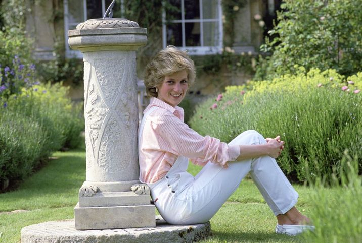 HIGHGROVE, UNITED KINGDOM - JULY 18:  Diana Princess Of Wales Relaxed By The Sundial At Her Home Highgrove House  (Photo by Tim Graham/Getty Images)