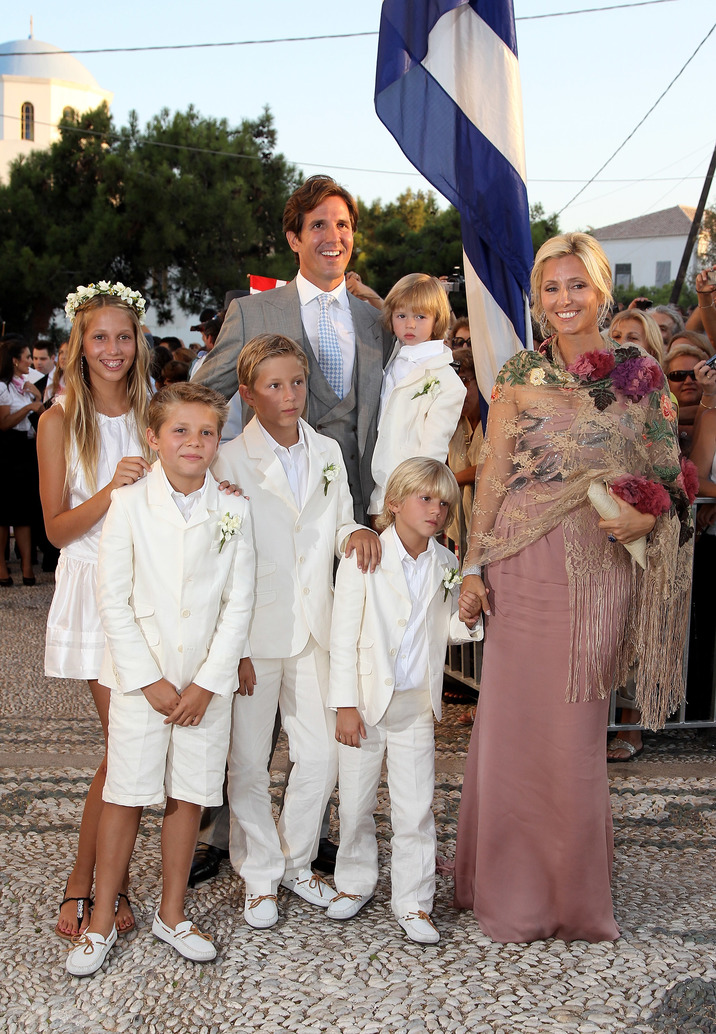 SPETSES, GREECE - AUGUST 25:   Crown Princess Marie-Chantal and Prince Pavlos of Greece arrive for the wedding of Prince Nikolaos and Miss Tatiana Blatnik at the Cathedral of Ayios Nikolaos (St. Nicholas) on August 25, 2010 in Spetses, Greece. Representatives from Europe?s royal families will join the many guests who have travelled to the island to attend the wedding of Prince Nikolaos of Greece, the second son of King Constantine of Greece and Queen Anne-Marie of Greece and Tatiana Blatnik an events planner for Diane Von Furstenburg in London.  (Photo by Chris Jackson/Getty Images)