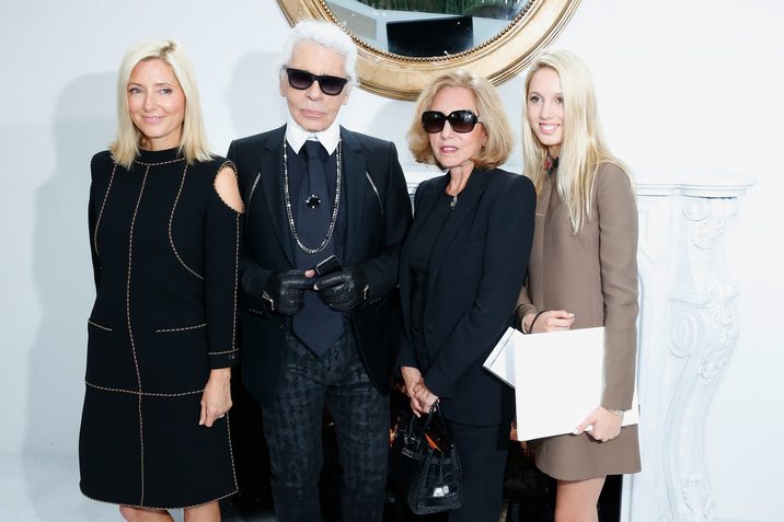 PARIS, FRANCE - JULY 08:  Fashion designer Karl Lagerfeld, Princess Marie-Chantal of Greece, her daughter  Princess Maria Olympia of Greece and her mother Miss Robert W. Miller attend the Chanel show as part of Paris Fashion Week - Haute Couture Fall/Winter 2014-2015. Held at Grand Palais on July 8, 2014 in Paris, France.  (Photo by Rindoff/Dufour/Getty Images)