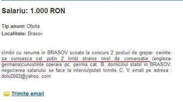"""Un cimitir din Brasov face angajari! Anuntul care a aparut la rubrica """"locuri de munca"""" pentru gropari e supertare! """"Cerinte: sa cunoasca cel putin doua..."""""""