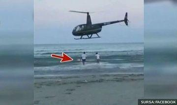 Petrecere grandioasă la malul mării! Au adus şampania pe plajă cu elicopterul