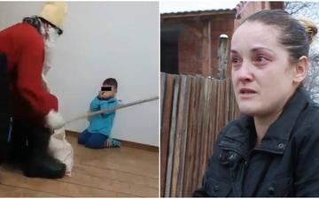 """Primele declaratii ale mamei copilului care a fost umilit de """"Mos Nicolae"""" si amenintat cu varga"""