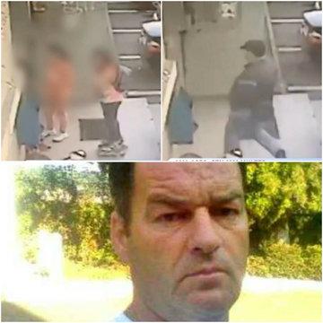 Noi imagini socante cu pedofilul din Politie! Eugen Stan, surprins in timp  ce alerga 3 fetite intr-o scara de bloc