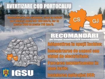 """Avertizare cod portocaliu! Recomandari de la Inspectoratul pentru Situatii de Urgenta: """"Facem un apel catre populatie..."""""""