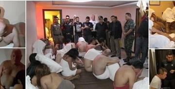 Erau transpirati si gafaiau si n-au avut timp nici sa-si acopere goliciunea! 28 de barbati au fost prinsi intr-o orgie cu mai multe fete tinere