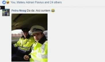 """Un sofer din Arad a anuntat pe Facebook ca e radar. Politistii si-au facut un selfie si au confirmat: """"Da, suntem aici"""""""