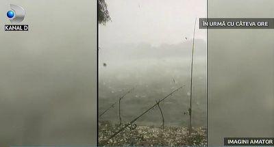 A plouat cu grindina cat oul de prepelita intr-o localitate din Romania. Meteorologii nu au vesti bune