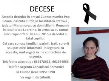 O romanca, mama a cinci copii, a murit in Spania. Diaspora face eforturi disperate sa-i gaseasca familia