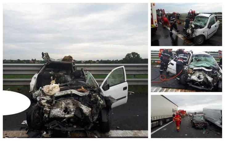 Imagini terifiante de la accidentul de pe A1! EL este soferul vinovat de moartea a patru oameni si ranirea altor trei. A intrat gresit pe autostrada si a provocat tragedia