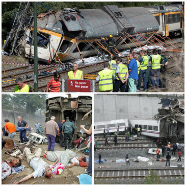 Tren deraiat in nord-vestul Spaniei. Cel putin patru persoane au murit si cateva zeci au fost ranite
