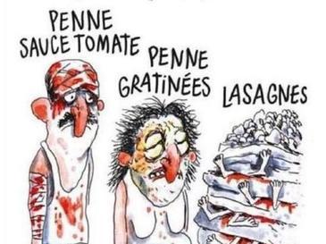 "Revista Charlie Hebdo, data in judecata de Consiliul local din Amatrice. Francezii au publicat o caricatura care prezinta un barbat acoperit cu sange, cu mesajul ""Penne, in sos tomat"""