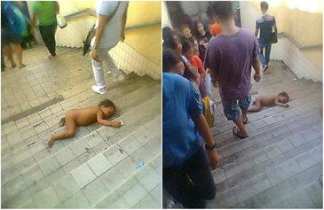 Imaginile care iti vor da fiori! Bebelus lasat sa zaca dezbracat pe scarile de la metrou. Sute de oameni au trecut nepasatori pe langa el