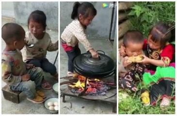 Imaginile care au emotionat intreaga lume! O fetita de nici 5 anisori gateste si isi hraneste fratele mai mic
