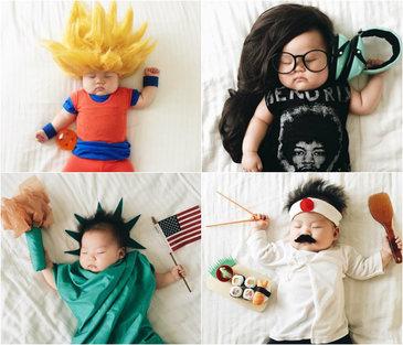 Acest bebelus habar nu are ca in timp ce doarme mama lui il transforma in diverse personaje! Ipostazele in care este fotografiat sunt fabuloase