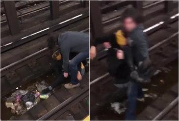 Un barbat este salvat de pe sinele de metrou, cu cateva minute inainte ca trenul sa ajunga in statie. Imagini incredibile