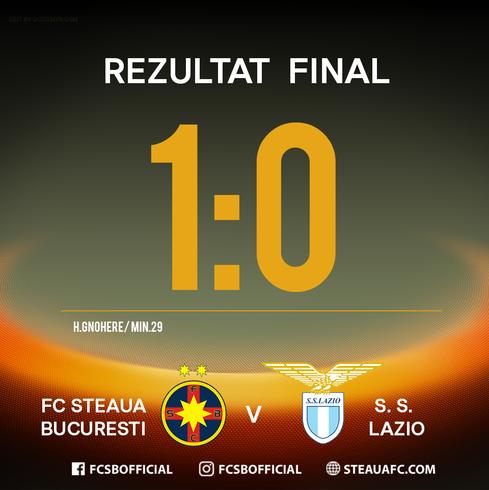 FCSB a invins Lazio Roma, cu scorul de 1-0, in turul 16-imilor Ligii Europa