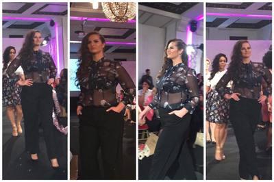 """Adela Lupse a facut senzatie la saptamana modei pentru """"grasute"""" de la Paris! """"Isterica"""" a aparut in costum de baie pe podium"""