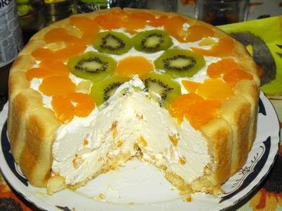 Tort cu sarlota si fructe - reteta fara coacere si pentru orice buzunar