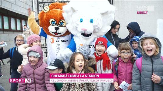 VIDEO | Oltenii pregătesc o nouă sărbătoare. Mascotele LioNelu şi Simba au chemat lumea la stadion