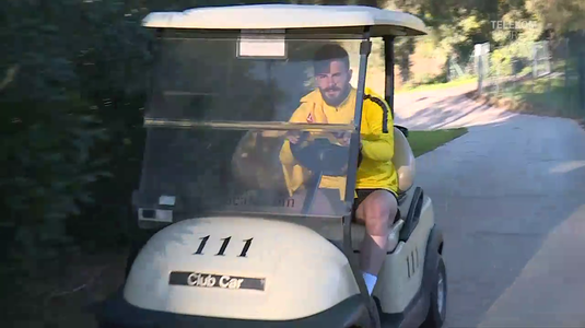 VIDEO | Bălaşa a venit la antrenament cu maşinuţa de golf. Găman s-a pregătit alături de noii colegi