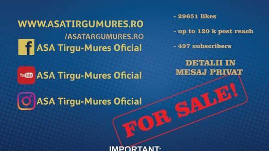 Problemele financiare le dau mari bătăi de cap! ASA Tg. Mureş vinde inclusiv pagina oficială de internet sau de Facebook