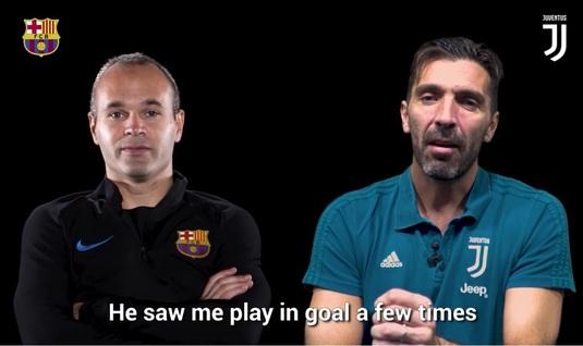 Două legende şi un interviu altfel! VIDEO | Iniesta şi Buffon, faţă în faţă. Pe ce post a început Gigi fotbalul şi de ce a ales să devină portar