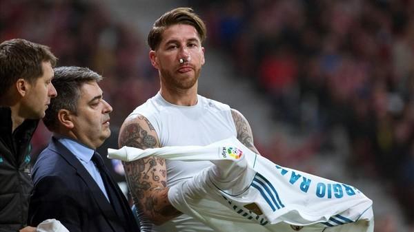 Sergio Ramos a suferit o fractură la nas la meciul cu Atletico Madrid