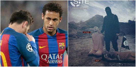 FOTO | Un nou mesaj şocant transmis de ISIS, cu Neymar în lacrimi şi Messi căzut la pământ