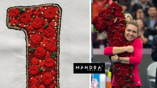 Cadou de Crăciun inedit pentru Simona Halep - un tricou brodat cu celebrul 1 din trandafiri primit la Beijing