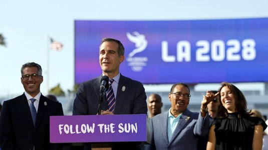 Primarul Garcetti afirmă că nu putea fi mai bucuros pentru organizarea JO 2028 la Los Angeles