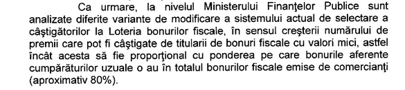 DOCUMENT Finanțele vor să modifice Loteria bonurilor fiscale