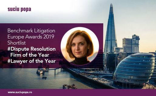 Benchmark Litigation Europe Awards 2019: Suciu Popa, pe lista scurtă pentru trofeul Romania Dispute Resolution Firm of the Year. Luminița Popa, nominalizată la categoria Lawyer of the Year