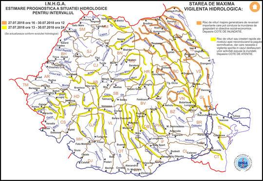 Cod galben de inundaţii în majoritatea zonelor ţării, până luni la miezul nopţii; în nouă judeţe va fi cod portocaliu