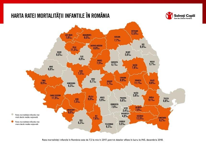 Harta mortalităţii infantile: În 2017, cei mai mulţi copii sub un an au murit în municipiul Bucureşti