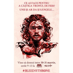 "Campania de donare de sânge ""Bleed For The Throne"", în două weekend-uri, la Bucureşti"