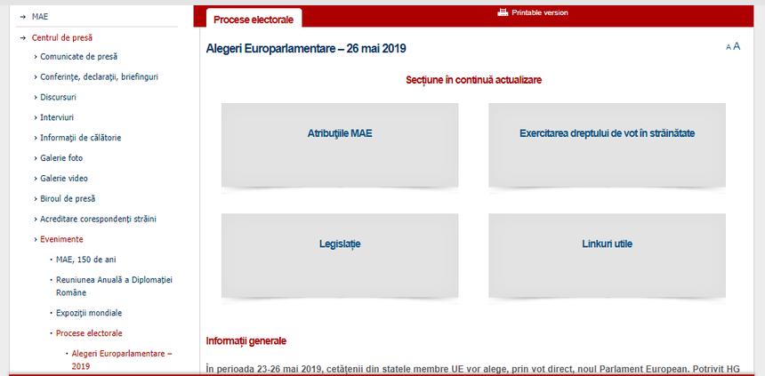 """Rubrica """"Alegeri europarlamentare 2019"""" a fost activată pe pagina de internet a Ministerului Afacerilor Externe"""