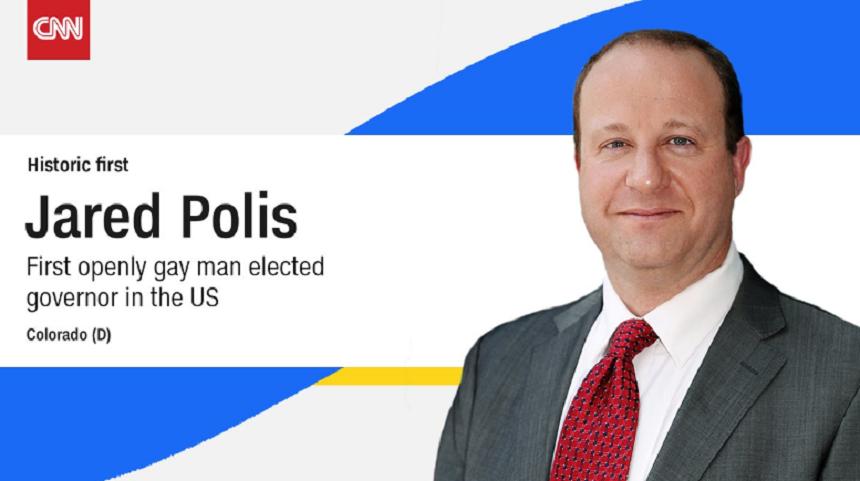 Un guvernator gay, democratul Jared Polis, ales pentru prima oară în SUA