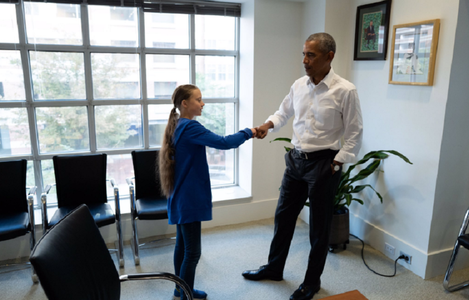 Greta Thunberg, primită de Barack Obama la Washington