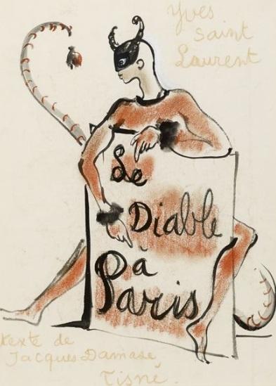Desene inedite ale creatorului de modă Yves Saint Laurent, scoase la licitaţie la Paris - FOTO