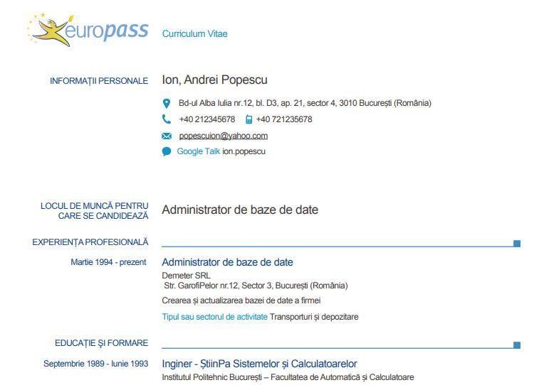 cv europass model rom u00e2n u0103