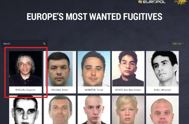 "El ajunsese pe lista ""most wanted"" a Europol"
