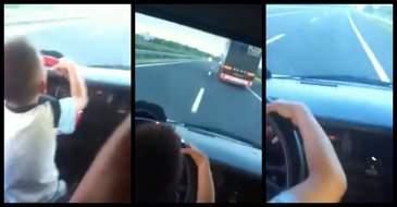 Imagini socante pe autostrada, langa Sibiu! Un copil este filmat in timp ce conduce singur o masina cu 120 km/h